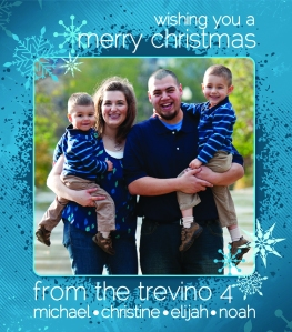 "I attached a smaller version of our Christmas card to the front of the jar (2.5X3"" approximate size)."